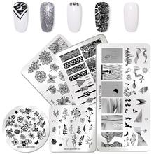 NICOLE DIARY placas geométricas para estampado de uñas, estampación de uñas florales, plantillas para uñas