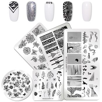 NICOLE pamiętnik geometryczne płytki do tłoczenia paznokci kwiatowy paznokci artystyczny design szablon tłoczenia paznokci do paznokci szablony Stamper tanie i dobre opinie NICOLE DIARY Stainless Steel Tłoczenie 12*6 6*6cm Template ABD45940 1 Pc
