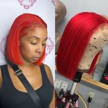 Remyblue parrucca corta Bob parrucche per capelli umani rosso 99J borgogna bionda 13*1 parrucca anteriore in pizzo brasiliano Remy parrucche per capelli profondi