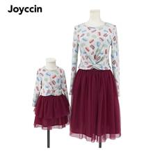 Joyccin 2021 Autumn Winter Macaron Print Mom and Me Girls  Long sleeve Thin Sweaters Family Look 721019
