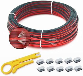 50 meter 28awg flexible silicone wire cable wires rc cable copper wire soft electrical wires cable for diy industry 10 colors AWG 18 20 22  2Pin 20m Electrical Wire Tinned Copper insulated PVC Extension LED Strip Cable Red Black Wire UL2468 Power wires