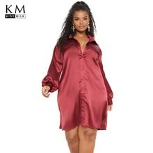 Kissmilk Plus Size Woman Clothes Simple Solid Color Satin Long-sleeved Shirt Dress