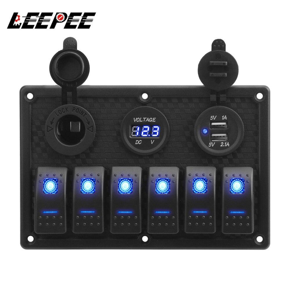 LEEPEE водонепроницаемый цифровой вольтметр двойной USB порт 12 В розетка комбинированный автомобильный морской светодиодный кулисный переклю...
