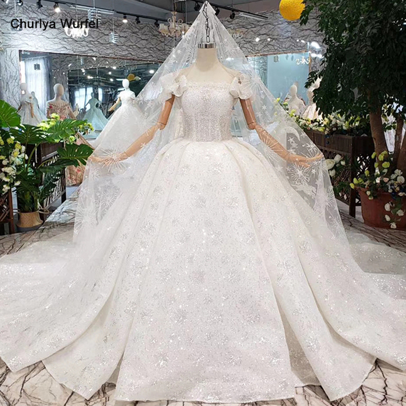 HTL306 Gelinlik Ball Gown Wedding Dress With Wedding Veil Puff Sleeve Lace Up Back Boat Neck Handmade Bead Bridal Dressing Gown