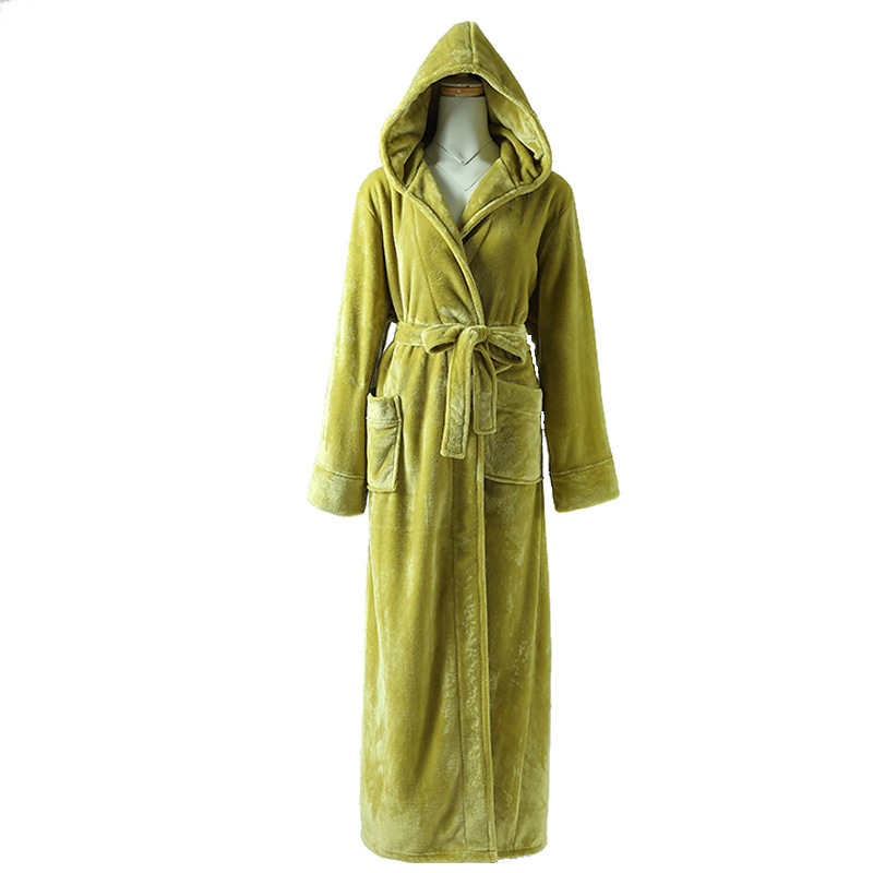 Robe Men's Bathrobe Flannel Robe De Nuit Winter Robe Men And Hooded Thick Pajamas Men's Bathrobes Home Service Pyjamas 2020