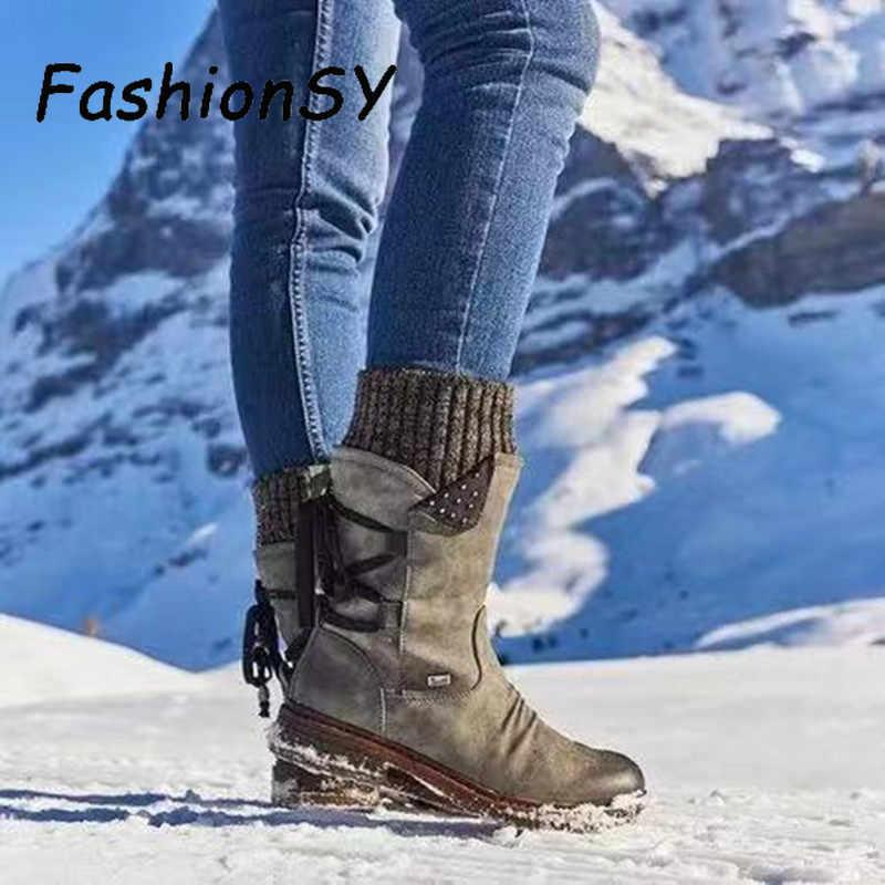 Ấm Giày Bốt Nữ 2019 Thu Đông Vintage Phẳng Buộc Dây Giày Ủng Đan Miếng Dán Cường Lực Nữ Giữa Bắp Chân Giày