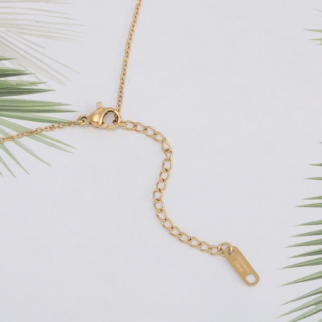 شجرة جوز الهند قلادة قلادة التيتانيوم الصلب سلسلة قلادة مطعمة الطبيعية الزركون الموضة العصرية النساء المجوهرات هدية عيد ميلاد