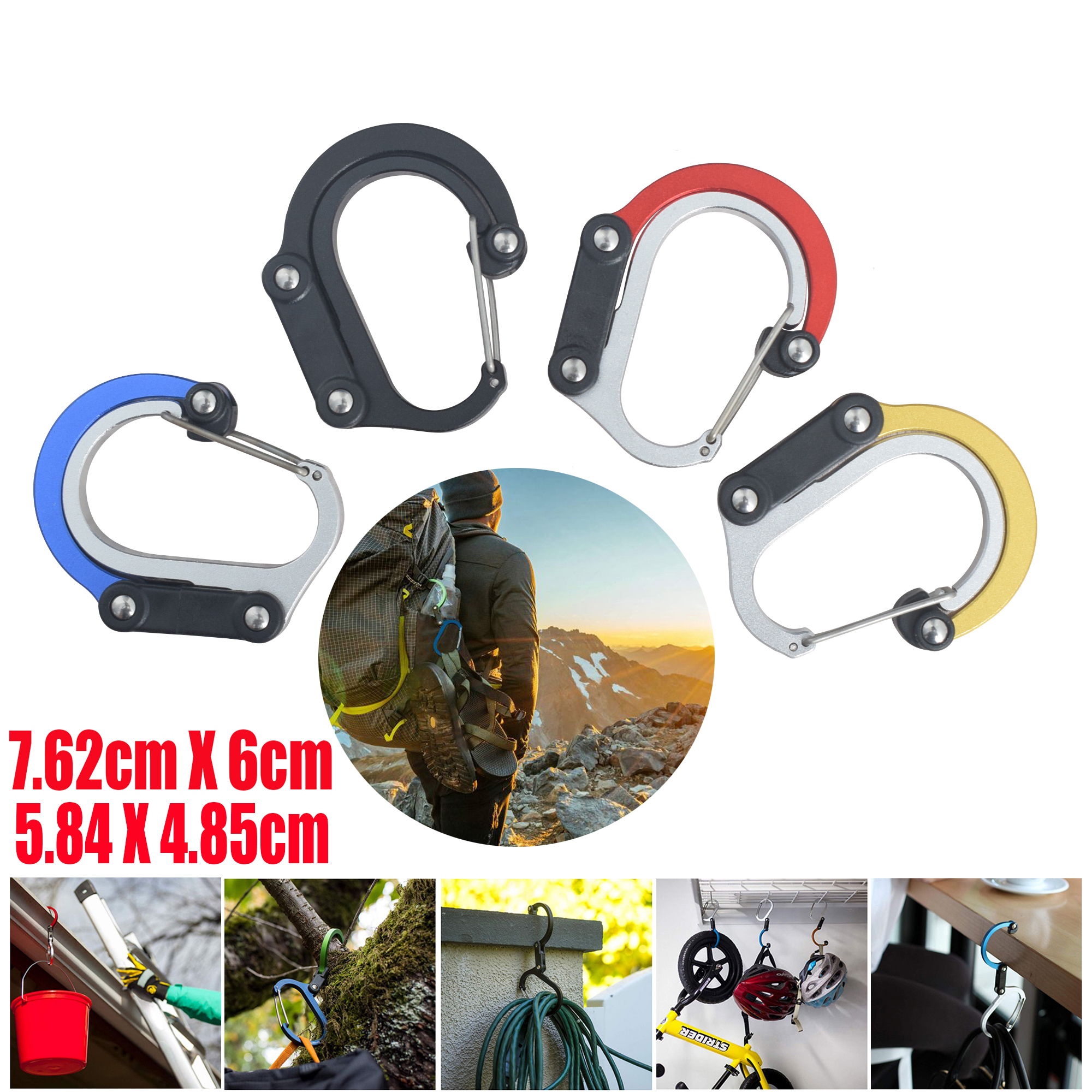Hybrid Gear Clip - Carabiner Rotating Hook Clip Non-Locking Strong Clips For Camping Fishing Hiking Travel Backpack Out