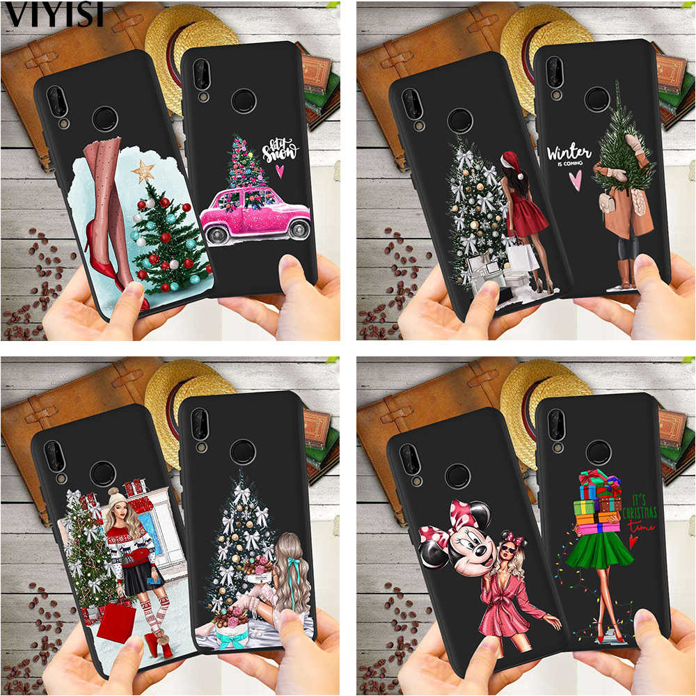 Sexy Girl Christmas Tree Phone Case For Huawei p20 lite P30 Pro Mate 20 Lite Honor 8X 9 10 20i V20 P Smart Etui Coque Silicone