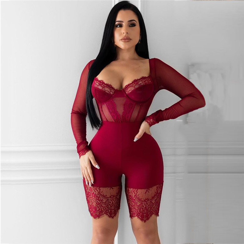 Ha7d88c04815346eba655528dab23aec2E - WUHE Lace Patchwork Sexy Spaghetti Strap Jumpsuits Women Off Shoulder Sleeveless Elegant Bodycon Bandage Party Short Playsuits