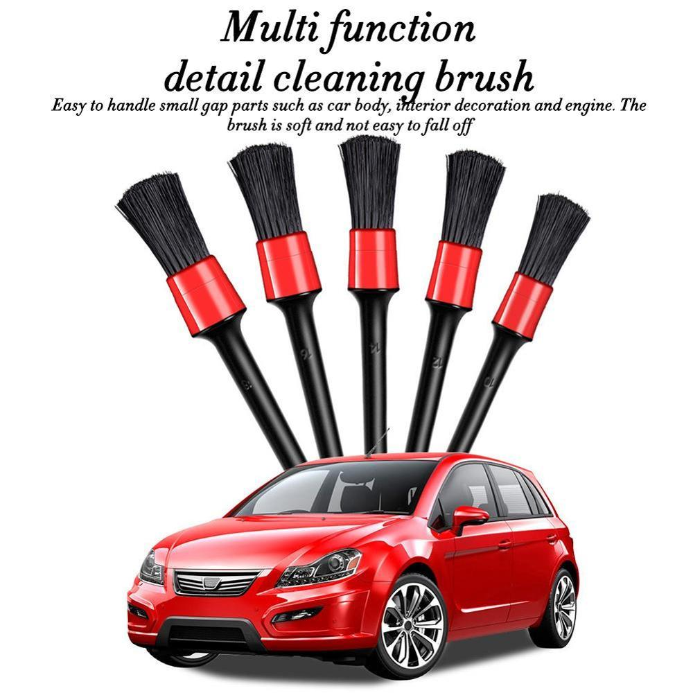 High Quality 5Pcs Natural Boar Hair Cleaning Brush Auto Detailing Brush Set Car Cleaning Brushes New