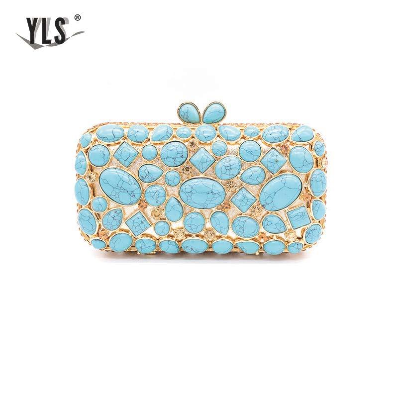 Dames lac bleu Vintage embrayages 2019 célébrité Turquosie gemme pochette sacs à main Occasion formelle désherbage soirée sac à main