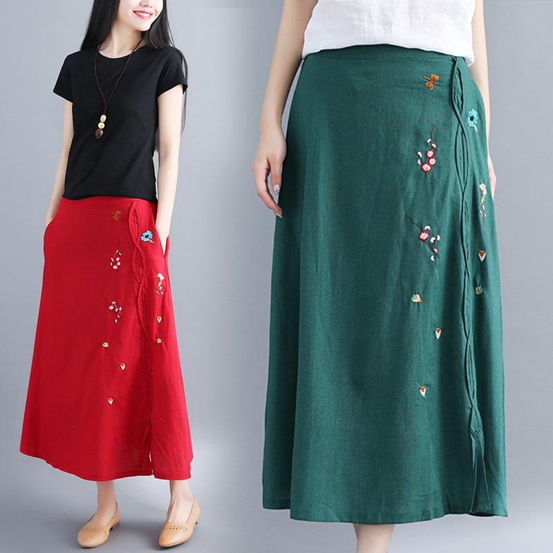 2018 Summer Wear New Style Cotton Linen Skirt Cool Ethnic Embroidery Flowers Cotton Linen A- Line Skirt Women's