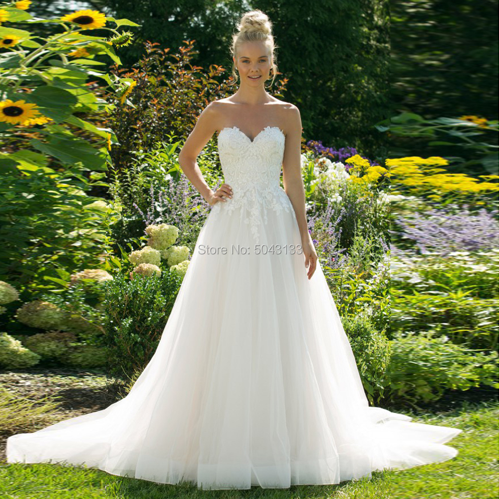 A Line Tulle Wedding Dresses 2020 Exquisite Lace Appliques Sweetheart Off the Shoulder Bridal Gowns Long Backless Robe De Marrie-in Wedding Dresses from Weddings & Events