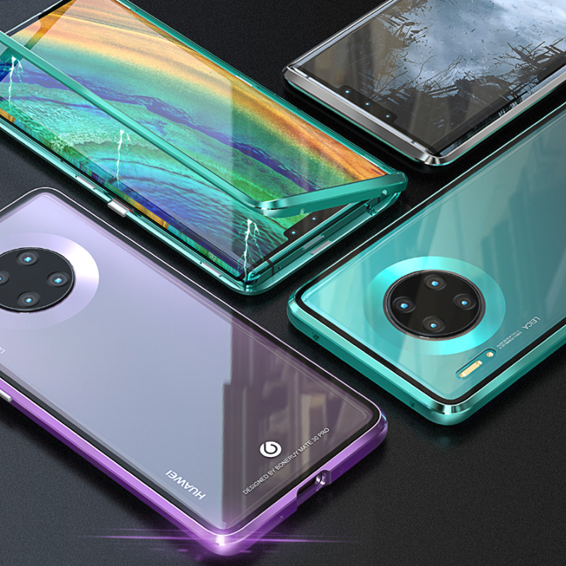 Aluminium Alloy Tempered Glass Double Sided Protection Magnetic Attraction Case For Huawei Mate 30 Pro
