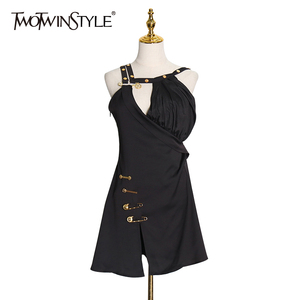 TWOTWINSTYLE Patchwork Pin Black Dress For Women Asymmetrical Collar Sleeveless A Line Dresses Female Spring Fashion Clothes New