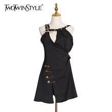 Женское платье с асимметричным воротником twotwinstyle черное