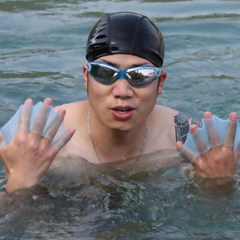1 Uds. Aletas de silicona para equipo de natación aletas de mano aletas de entrenamiento de buceo guantes Webbed guantes para Mujeres Hombres niños herramienta de natación