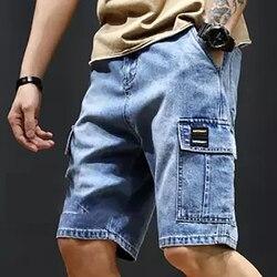 Herren Plus Größe Lose Baggy Denim Kurze Männer Jeans Mode Hip Hop Streetwear Lange 3/4 Capri Cargo-Shorts Tasche Bermuda männlich Blau