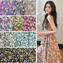 Wide 59'' Oil Painting Style Floral Cambric Korean Silk Linen Printed Chiffon Fabric Women's Skirt Shirt Dress Clothing Material(China)