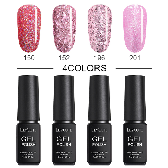LILYCUTE  4/6pcs UV Nail Gel Polish 7ml