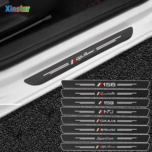 4pcs Car Protector Door Sill Stickers For Alfa Romeo Giulia Giulietta 159 156 MITO Stelvio Sportiva 147 GT Car Accessories