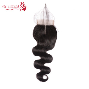 4x4 кружева Закрытие 100% человеческие волосы закрытие бразильские волосы ткачество натуральный цвет Remy волосы швейцарское кружево с волосам...