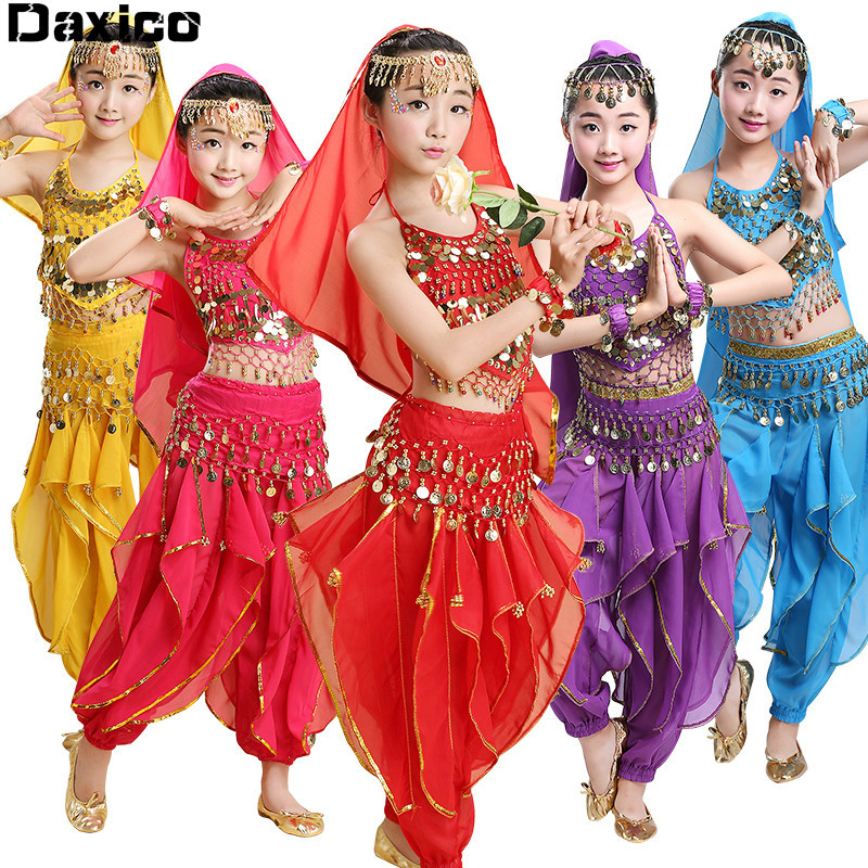 Children Belly Dance Costume <font><b>Kids</b></font> National <font><b>Indian</b></font> Dance Wear School Girl <font><b>Sari</b></font> Bollywood Dance Costumes Set Egyptian Dance Outfit image