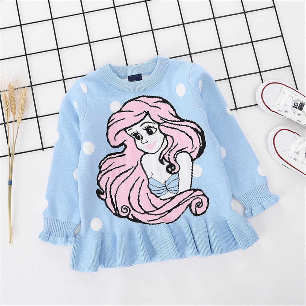 Children Sweaters Mermaid Pattern Ruffled Sleeve Sweaters For Girls Autumn Winter Girls Knitted Pullovers Casual Outwear Clothes