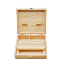 Caixas de armazenamento de madeira maple cânfora madeira rolo bandeja de papel caso armazenamento cigarro caixa de armazenamento boite cigarro fumaça ferramenta fdh