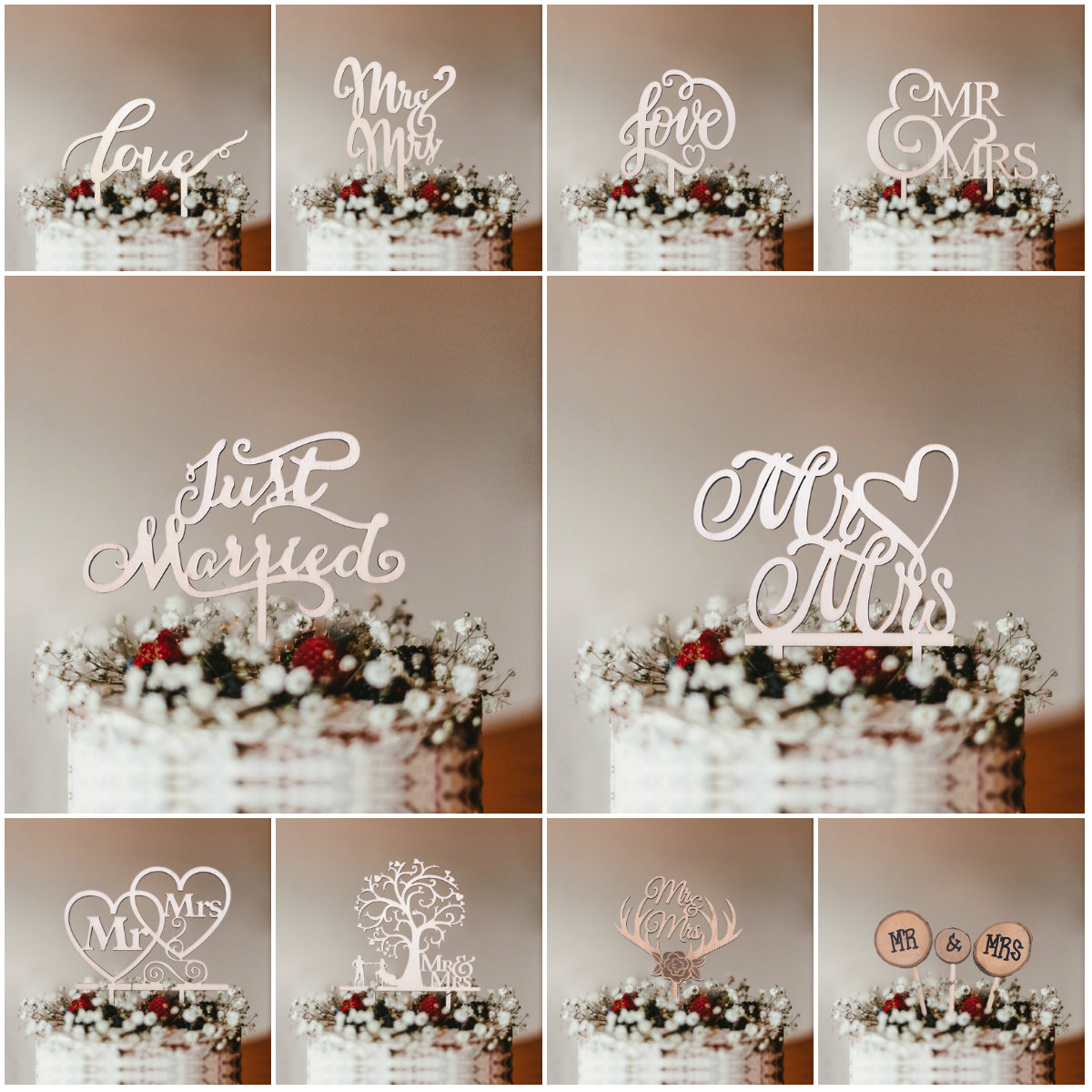 1Pcs Wooden Love Just Married Mr&Mrs Cake Topper DIY Wedding Cake Topper Engagement Gifts Letter Cake Decoration Supplies Favors(China)