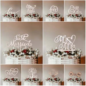 Cake Topper Cake-Decoration-Supplies Letter Gifts Favors Wooden Engagement Just Married