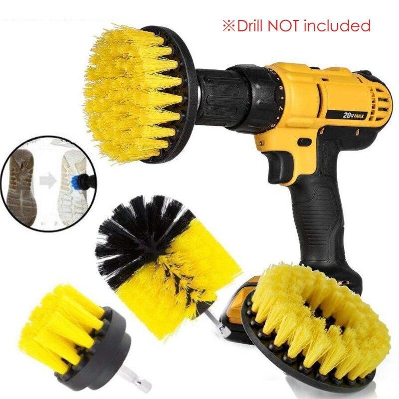 1 Set/3 PCS Electric Drill Brush Kit Plastic Round Cleaning Brush For Carpet Glass Car Tires Nylon Brushes Scrubber Drill(China)