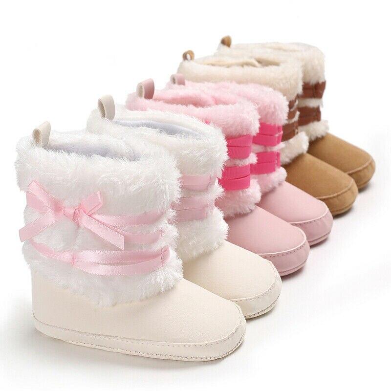 Newborn Baby Girl Fur Snow Boots Winter Warm Booties Infant Toddler Crib Shoes Anti-slip Prewalker White Brown Pink 0-18M