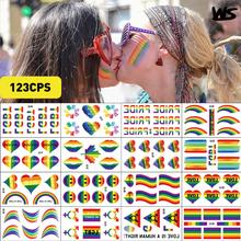 20Pcs Gay pride Love Rainbow Pride Flag Stickers Ribbon Parades Festival Party Favors Supplies Decorations