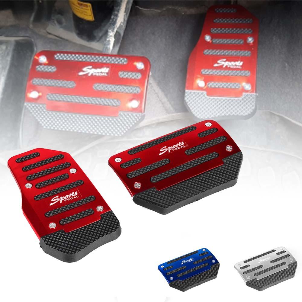 Non-Slip Automatic Transmission Car Pedal Cover Set For Brake Accelerator Silver