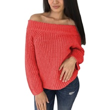 2019 New Fashion Slash-neck Full Sleeve Knitted Sweater Women Cold Shoulder Elastic Knitted Pullovers Sexy Off-shoulder Jumper