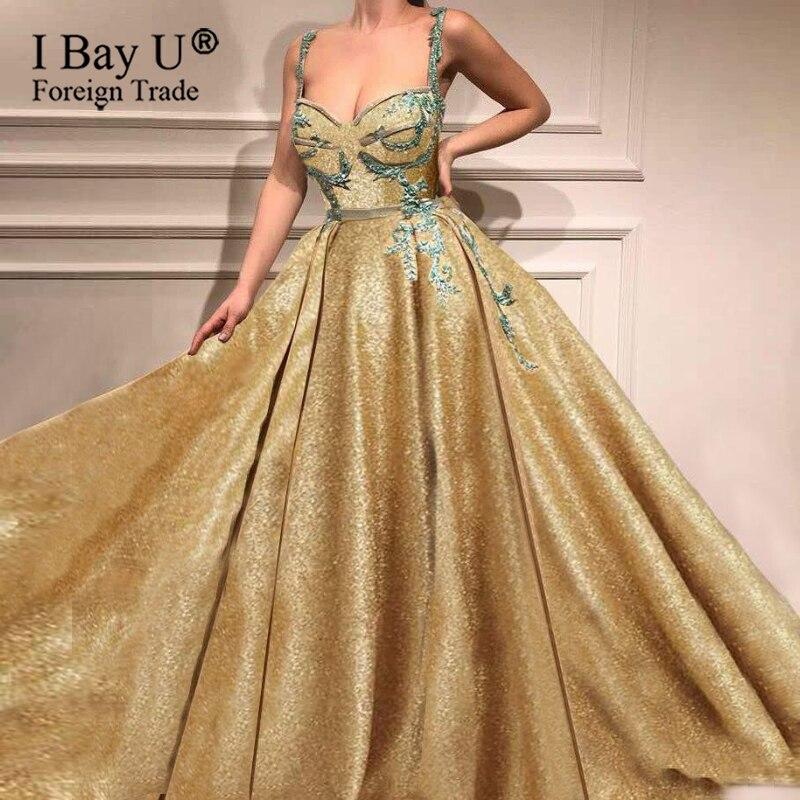 Elegant Golden Beading Sequined Applique A-Line Evening Dresses Detachable Skirt Split Opening Sparkle Glitter Long Prom Dress