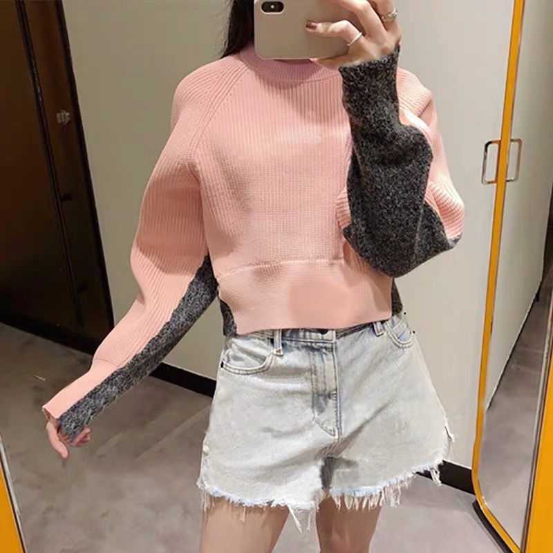 Fall 2019 New Colour-Coloured Knitted Sweaters with Fashion Short Pullovers Computer Casual Women