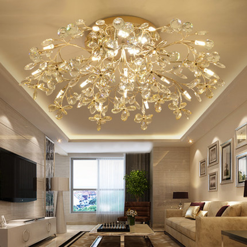 Modern LED Crystal Glass Flower Ceiling Chandelier Lighting Nordic Lights Living Restaurant Bedroom Loft Decor Luxury Fixtures