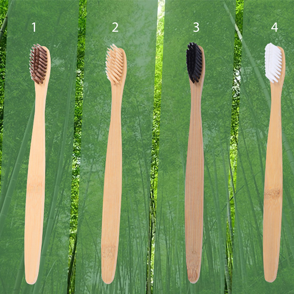New design 4 color bamboo toothbrush Eco Friendly wooden Tooth Brush Soft bristle Tip Charcoal adults oral care toothbrush image