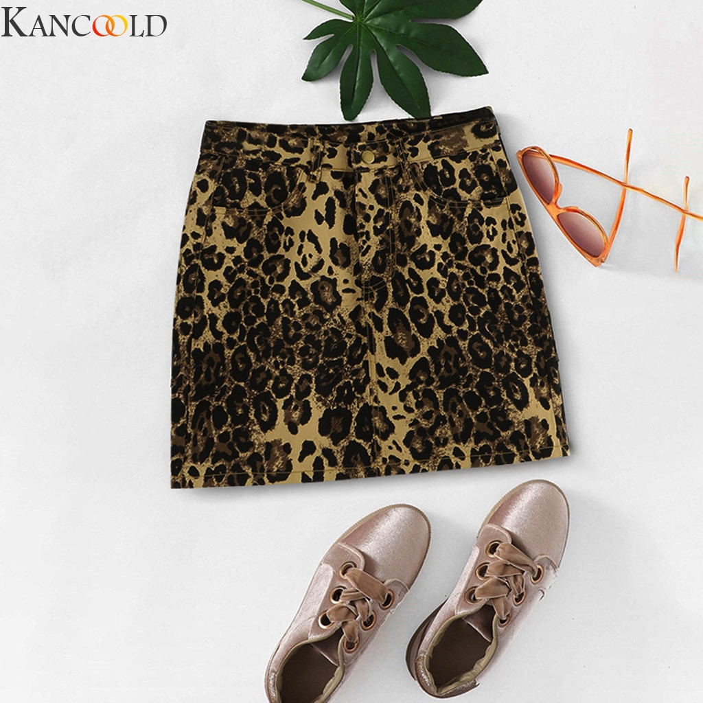 KANCOOLD Skirts Ladies Women Sexy Long Sleeve Lepoard Print Bodycon skirts Evening Party Short Mini Skirts Club New Arrival