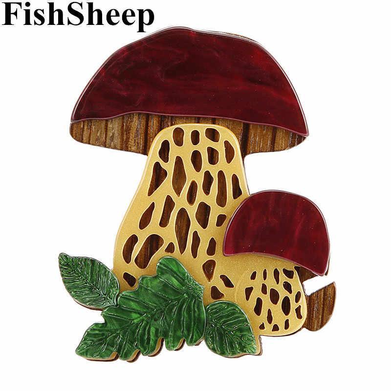 Fishsheep Sveglio Del Fungo Acrilico Spille in Resina di Modo di Piante di Grandi Dimensioni Spilla Spilli Risvolto per Le Donne I Bambini Del Vestito Del Cappotto Accessori