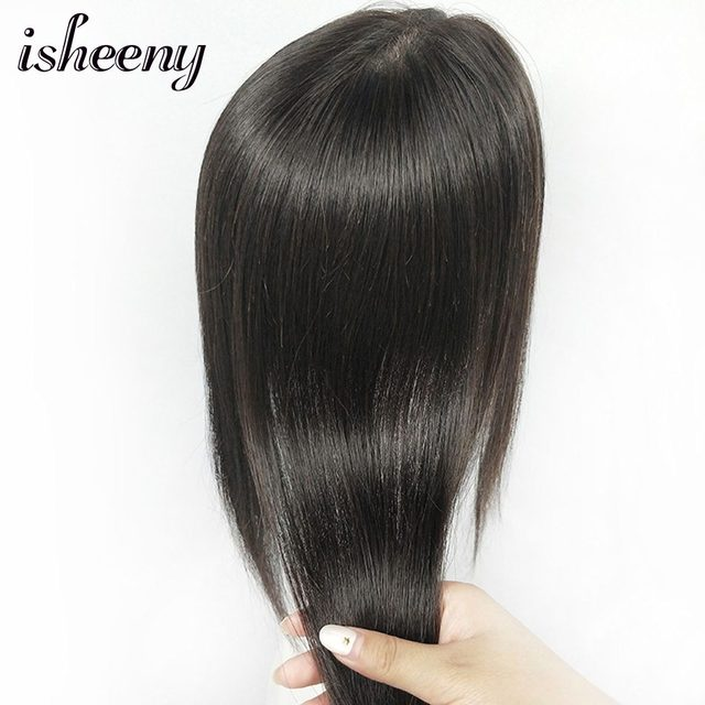 """10"""" 12"""" 14"""" Human Hair Topper Wig For Women 12*12 Breathable MONO PU Base With Clip In Hair Toupee Remy Hairpiece 1"""