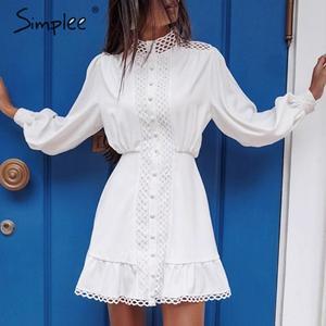 Image 3 - Simplee Streetwear 여성 흰색 드레스 긴 소매 프릴 중공 아가씨 여름 드레스 봄 기하학 랜턴 포켓 미니 드레스