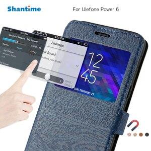 Image 1 - Caso do telefone de couro do plutônio para ulefone power 6 caso da aleta para ulefone power 6 ver janela livro caso macio tpu silicone volta capa