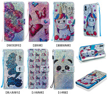 Luxury Bling Wallet Flip PU Leather Case For iPhone 2019 6.5 6.1 5.8 Shining Unicorn Pattern Protector Phone Bag Cover Capa Gift