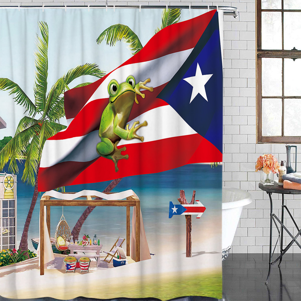 Palm Tree Puerto Rico Flag Frog Beach Bathroom Shower Curtain Modern Household Shower Curtain image
