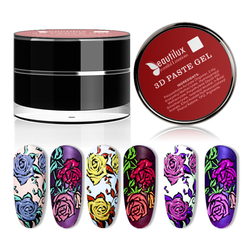 Beautilux 3D Gel Paste Nail Art Design Emboss Carving Painting Creamy Nails Polish Soak Off  UV LED Gels Lacquer Varnish 10g