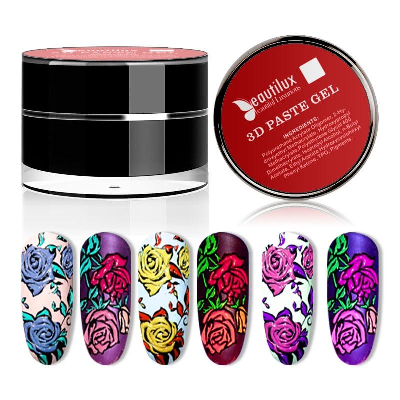 Beautilux 3D Gel Paste Nail Art Design Emboss Carving Painting Creamy Nails Polish Soak Off  UV LED Gels Lacquer Varnish 10g